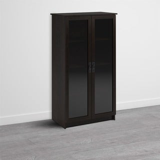 Avenue Greene Walnut Ridge Espresso Glass Door Bookcase