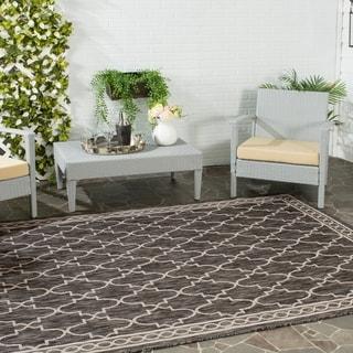 Safavieh Indoor/ Outdoor Courtyard Black/ Beige Rug (4' x 5'7)