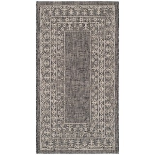 Safavieh Indoor/ Outdoor Courtyard Black/ Beige Rug (2'7 x 5')