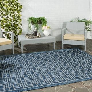 Safavieh Indoor/ Outdoor Courtyard Navy/ Grey Rug (4' x 5'7)