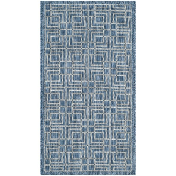 Shop Safavieh Indoor Outdoor Courtyard Navy Grey Rug 2