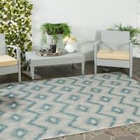 Safavieh Indoor/ Outdoor Courtyard Grey/ Blue Rug - 4' x 5'7