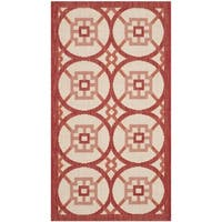"Safavieh Indoor/ Outdoor Courtyard Beige/ Red Rug - 2'7"" x 5'"