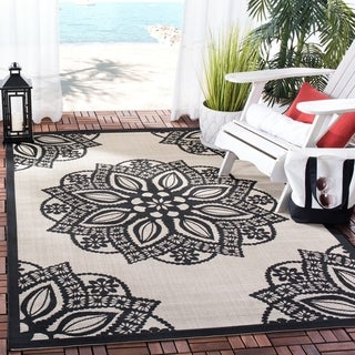 Safavieh Courtyard Floral Medallion Beige/ Black Indoor/ Outdoor Rug (2'7 x 5')