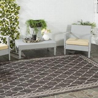 Safavieh Indoor/ Outdoor Courtyard Black/ Beige Rug (6'7 x 6'7 Square)