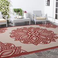 "Safavieh Courtyard Floral Medallion Beige/ Red Indoor/ Outdoor Rug - 6'7"" x 6'7"" square"