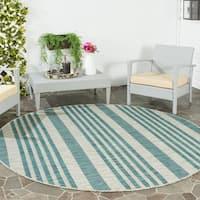 Safavieh Indoor/ Outdoor Courtyard Grey/ Blue Rug - 6'7 Round