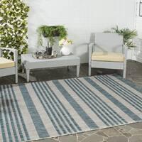 Safavieh Indoor/ Outdoor Courtyard Grey/ Blue Rug - 6'7 Square