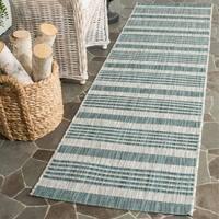 Safavieh Indoor/ Outdoor Courtyard Grey/ Blue Rug - 2'3 x 12'
