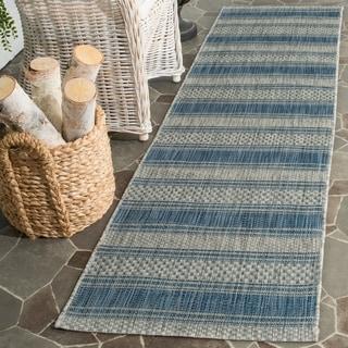 Safavieh Indoor/ Outdoor Courtyard Grey/ Navy Rug (2'3 x 12')