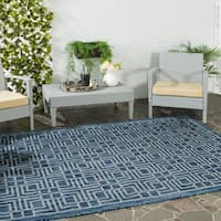 Safavieh Indoor/ Outdoor Courtyard Navy/ Grey Rug (2'3 x 8')