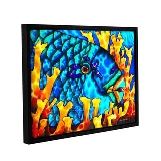 ArtWall Daniel Jean-Baptiste's Parrotfish In Fire Coral, Gallery Wrapped Floater-framed Canvas