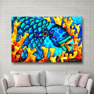 ArtWall Daniel Jean-Baptiste's Parrotfish In Fire Coral, Gallery Wrapped Canvas