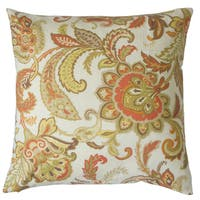 Pelagia Floral Down and Feather Filled Linen 18-inch Throw Pillow