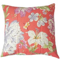 Niatohsa Floral Down and Feather Filled Linen 18-inch Throw Pillow