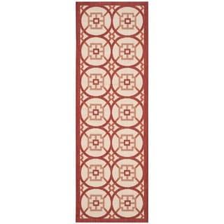 Safavieh Indoor/ Outdoor Courtyard Beige/ Red Rug (2'3 x 6'7)