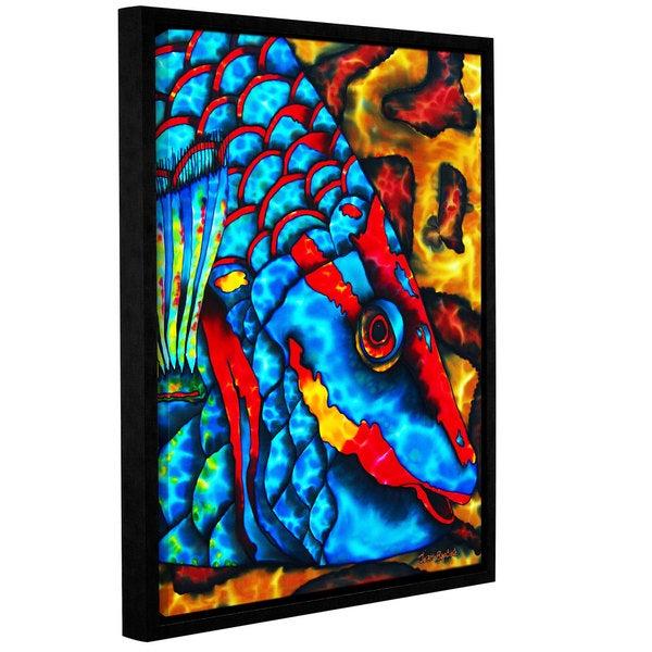 ArtWall Daniel Jean-Baptiste's Stoplight Parrotfish, Gallery Wrapped Floater-framed Canvas