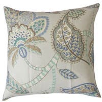 Mazatl Floral Down and Feather Filled Linen 18-inch Throw Pillow