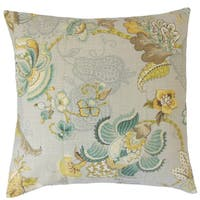 Lieve Floral Down and Feather Filled Linen 18-inch Throw Pillow
