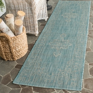Safavieh Indoor/ Outdoor Courtyard Aqua/ Grey Rug (2'3 x 8')