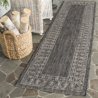 Safavieh Indoor/ Outdoor Courtyard Black/ Beige Rug (2'3 x 12')