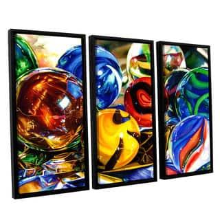 ArtWall Kelly Eddington's Planets And Foil, 3 Piece Floater Framed Canvas Set - multi