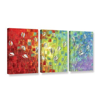 ArtWall Susanna Shaposhnikova's Multi Silver tulip, 3 Piece Gallery Wrapped Canvas Set
