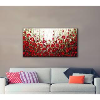 ArtWall Susanna Shaposhnikova's Olive Red Poppies, Gallery Wrapped Canvas