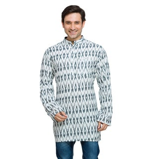 In-Sattva Shatranj Men's Indian Mid-Length Ikat Print Kurta Tunic Shirt (2 options available)