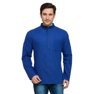 In-Sattva Shatranj Men's Indian Banded Collar Thin Stripped Kurta Tunic Shirt