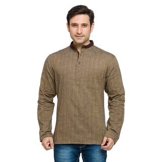 In-Sattva Shatranj Men's Indian Contrast Collar Pin Stripped Kurta Tunic Shirt