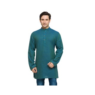 In-Sattva Shatranj Men's Indian Banded Collar Solid Kurta Tunic Shirt