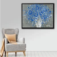 ArtWall Susanna Shaposhnikova's Blue Bouquet, Gallery Wrapped Floater-framed Canvas