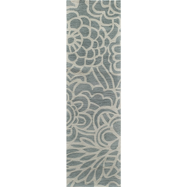 Hand-Tufted Palma Bloom Blue Polyester Rug (2'3 x 8')