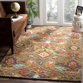 Safavieh Handmade Blossom Green/ Multi Wool Rug - 5' x 8'