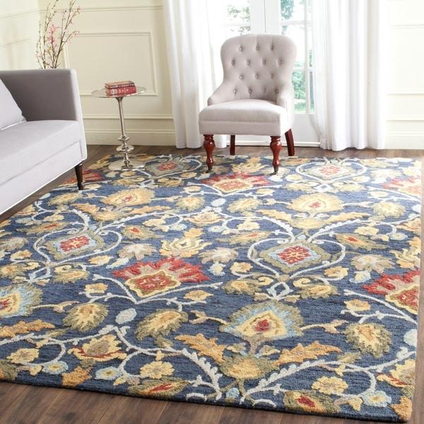 Safavieh Handmade Blossom Fiorello Navy / Multi Wool Rug - 5' x 8'