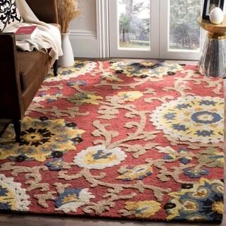 Safavieh Handmade Blossom Red/ Multi Wool Rug (5' x 8')