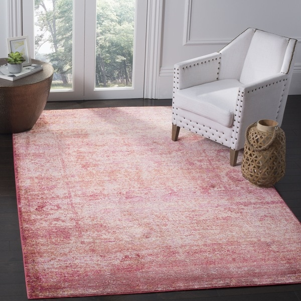 Safavieh Mystique Watercolor Fuchsia Pink/ Multi Silky Rug (4' x 6')