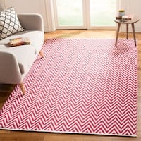 Safavieh Hand-Woven Montauk Red/ Ivory Cotton Rug - 4' x 6'