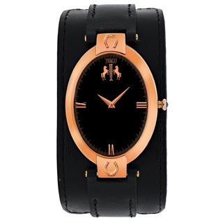 Jivago Women's JV1831 Good luck Oval Black Leather Strap Watch