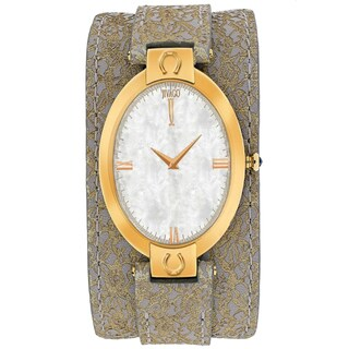 Jivago Women's JV1836 Good luck Oval Light Brown Leather Strap Watch