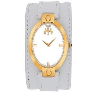 Jivago Women's JV1837 Good luck Oval White Leather Strap Watch
