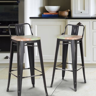 Adeco Metal Barstool with Back (Set of 2)
