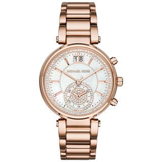 Sawyer Women's Rose Goldtone Mother of Pearl Crystal Pave Dial Watch