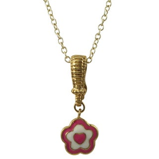 Luxiro Gold Finish Enamel Heart Flower Enhancer Children's Pendant Necklace
