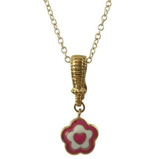 Luxiro Gold Finish Enamel Heart Flower Enhancer Children's Pendant Necklace (2 options available)