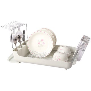 Premium Dish Rack Set with Wine Glass Holder and Drain Board Tray