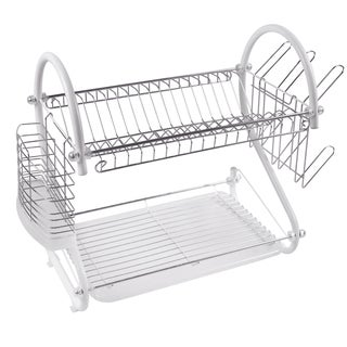 White 2-tier S-shaped Dish Rack Set