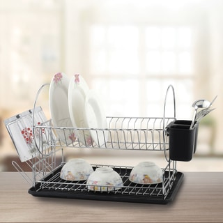 Space Saving 2-tier Black and Chrome Side Circle Design Dish Rack Set