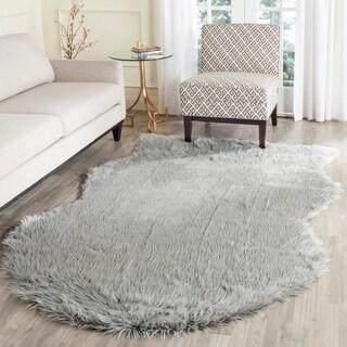 Safavieh Handmade Faux Sheep Skin Light Grey Acrylic Rug (5' x 8')